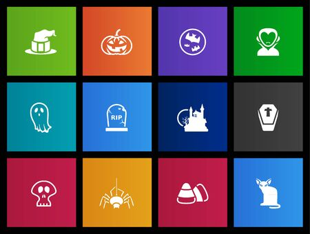 helloween: Helloween icons series in Metro style Illustration