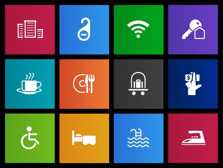 Hotel and accommodation icons series in Metro style Vector