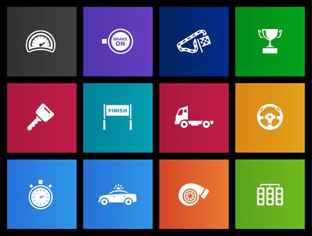 circuit brake: Truck racing icon series in Metro style