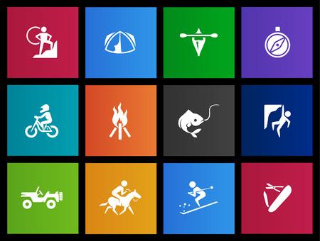 Outdoor activity icon series in Metro style Vector