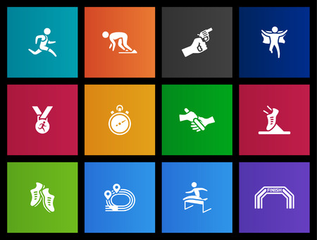endurance: Running, sprint icon series in Metro style