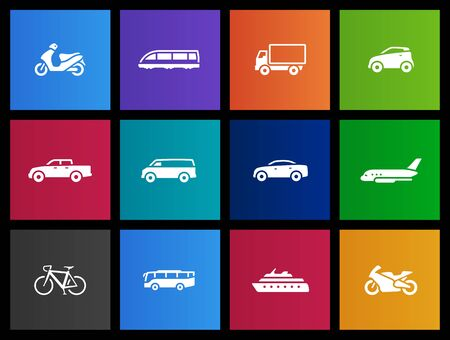 cargo transport: Cars, transportation icon series in Metro style Illustration