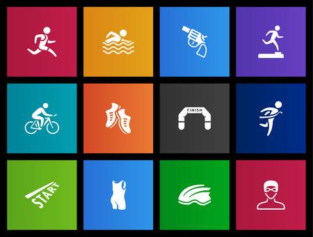 activity icon: Triathlon  icon series in Metro style