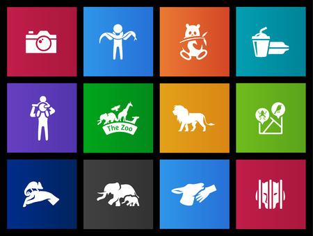 sanctuary: Zoo, animal sanctuary icon series in Metro style