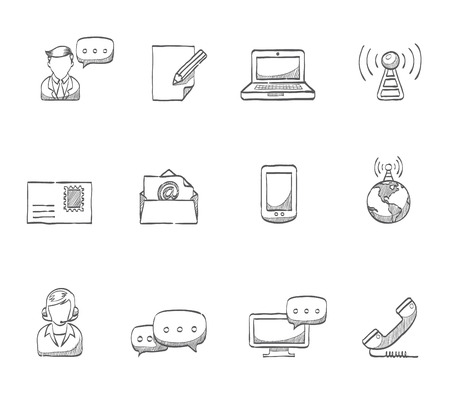 email lists: Communication icons  hand drawn sketches