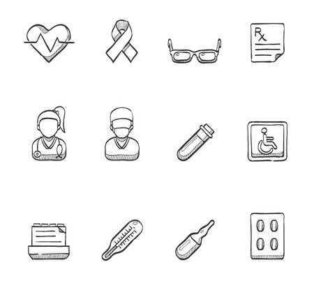 Medical icons hand drawn sketches Vector
