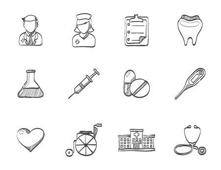 Medical icon series hand drawn sketches Vector