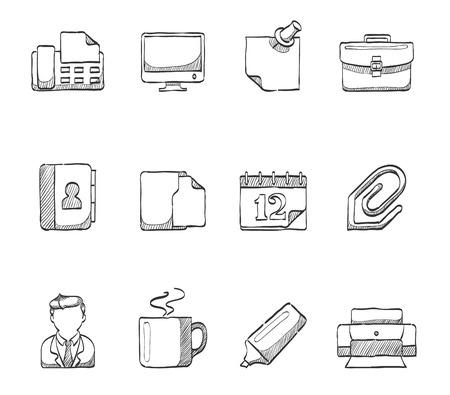 �sketch: Iconos de la oficina bocetos dibujados a mano Vectores