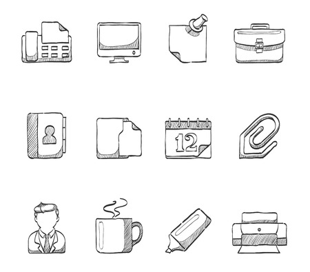 notebook computer: Office icons hand drawn sketches