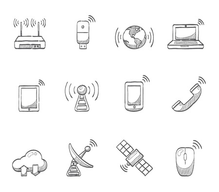 Wireless gadget and object icons hand drawn sketches Ilustração