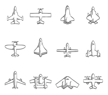 supersonic plane: Airplane icons hand drawn sketches