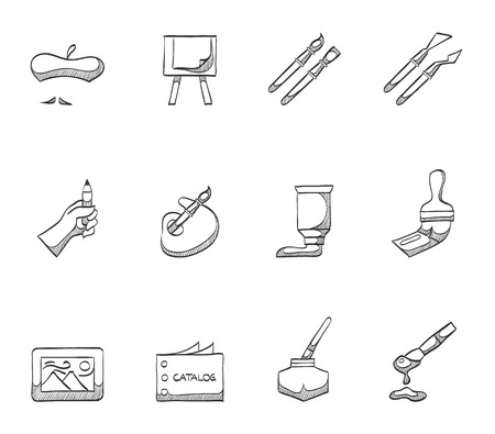 Painting artist icons hand drawn sketches Vector