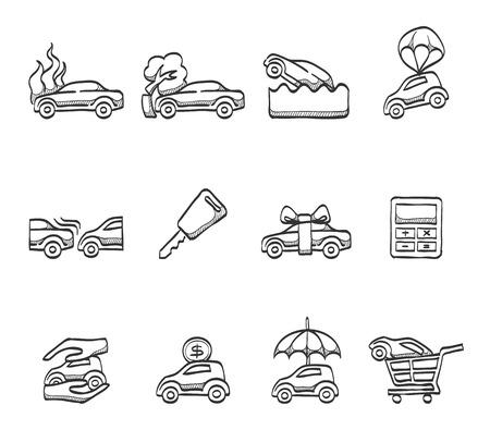 seguros autos: Bocetos dibujados coches iconos del seguro mano