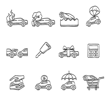 gift accident: Car insurance icons hand drawn sketches Illustration