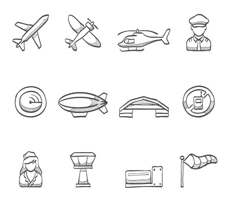private jet: Aviation icons series hand drawn sketches