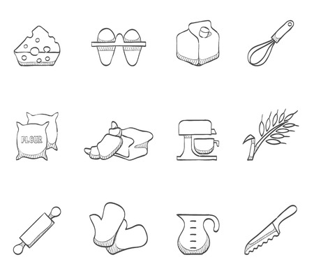cookie cutter: Bakery, baking icons hand drawn sketches Illustration