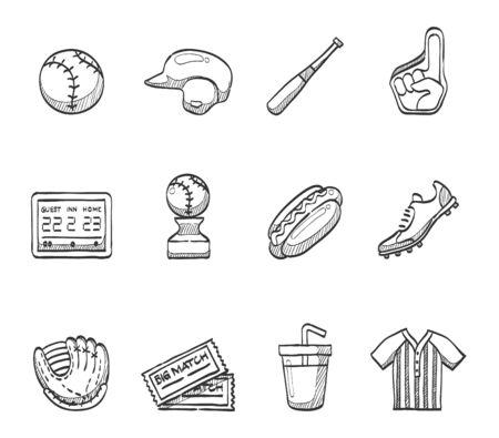 score board: Baseball icons series hand drawn sketches Illustration