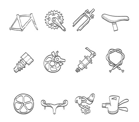 spare part: Bicycle spare part icons hand drawn sketches