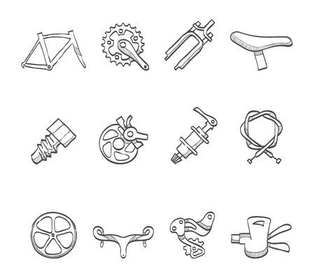 frenos: Bocetos dibujados bicicletas de repuesto mano parte iconos Vectores