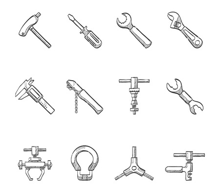 Bicycle tools icon series hand drawn sketches