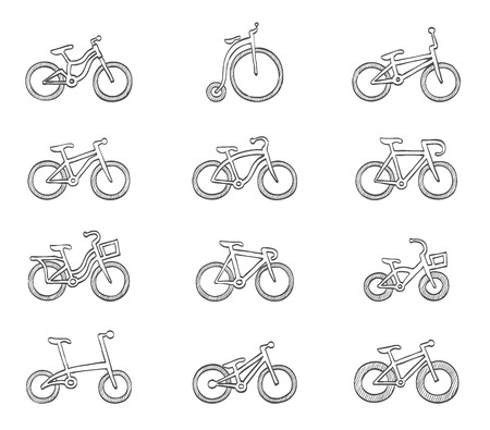 Bicycle types icon hand drawn sketches Illusztráció