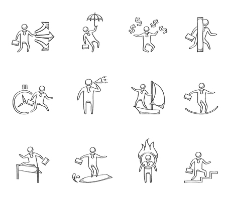 Businessman icon series hand drawn sketches Vector