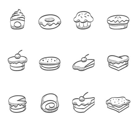 swiss roll: Cakes icon series hand drawn sketches