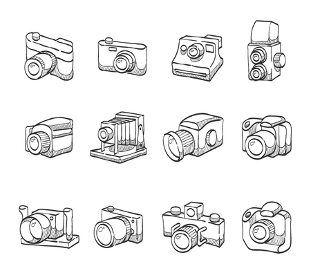 journalistic: Camera icon series hand drawn sketches