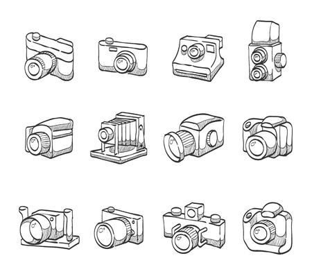 compact camera: Camera icon series hand drawn sketches