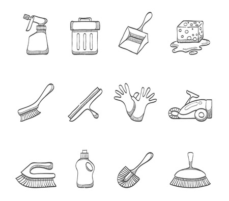 vacuum cleaner worker: Cleaning tools icon series hand drawn sketches Illustration