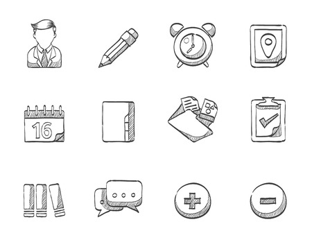 Collaboration icons hand drawn sketches Vector