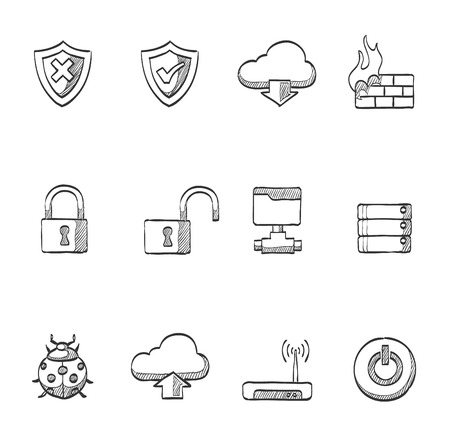 Internet security icons in hand drawn sketches