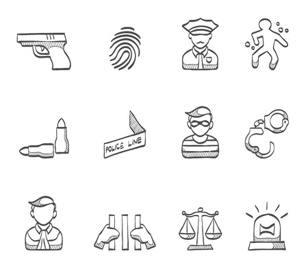 bullet proof: Crime icons hand drawn sketches