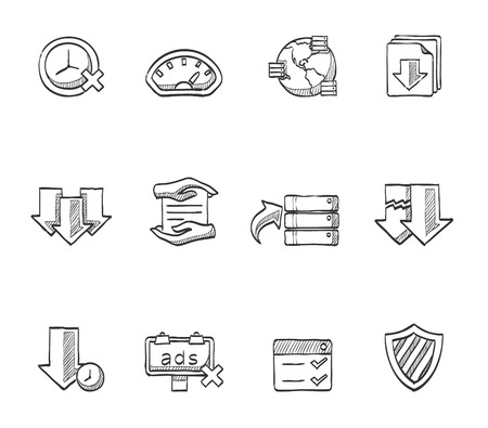 File transfer, files hosting icons hand drawn sketches