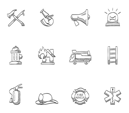 Firefighter icon series hand drawn sketches Vector