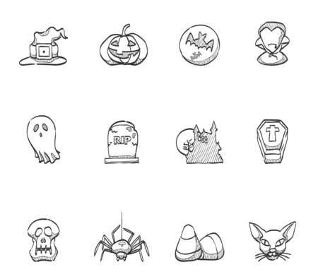 helloween: Helloween icons hand drawn sketches