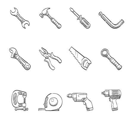 Hand tool icon series hand drawn sketches Vector