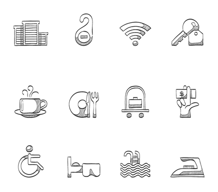 accommodation: Hotel and accommodation icons hand drawn sketches Illustration