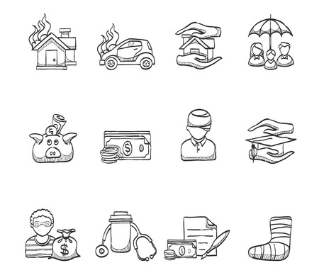 education policy: Insurance icons hand drawn sketches