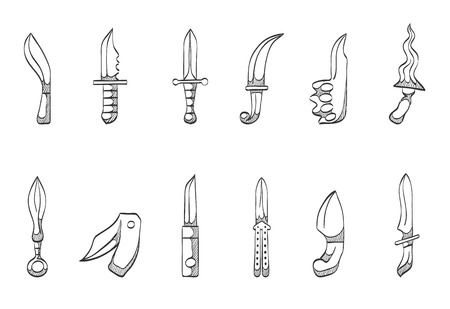glyphs: Knives icon series hand drawn sketches