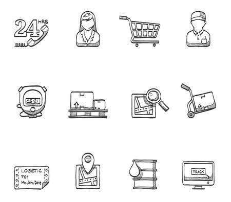 barrel tile: Logistic icons hand drawn sketches