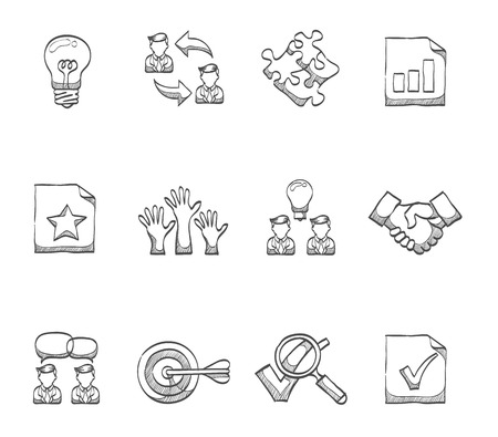 Management icon series hand drawn sketches