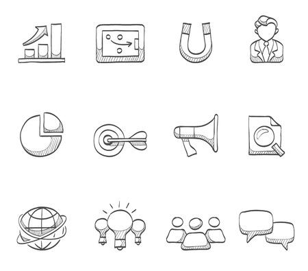 eye service: Marketing icons hand drawn sketches