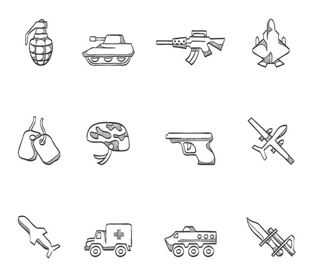 Military icons  hand drawn sketches Vector