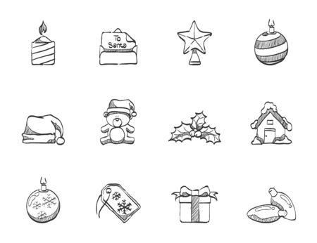 Christmas icons hand drawn sketches