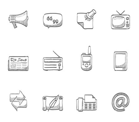 communication icons: Communication icons  hand drawn sketches