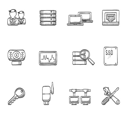 Computer network icons in hand drawn sketches Ilustração