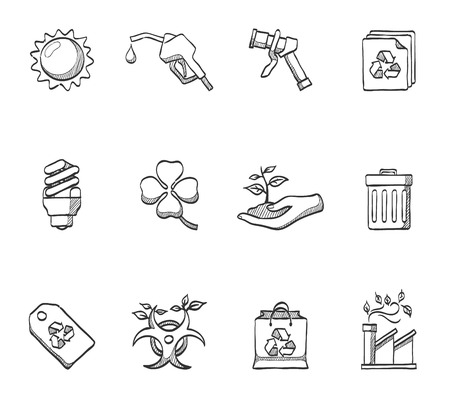 paperbag: Environtment icons in hand drawn sketches