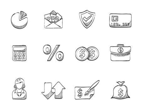 Finance icons in hand drawn sketches