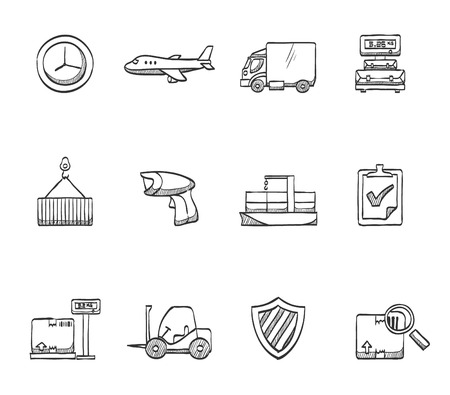 Logistic icons hand drawn sketches Vector